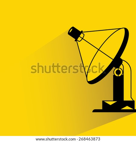 radar dish, satellite dish on yellow background, flat and shadow theme - stock vector