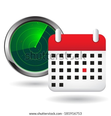 radar icon and calendar eps10 - stock vector