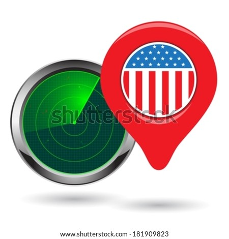 radar icon and localization pointer eps10 - stock vector