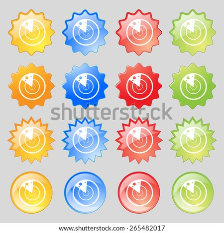 radar icon sign. Big set of 16 colorful modern buttons for your design. Vector illustration - stock vector