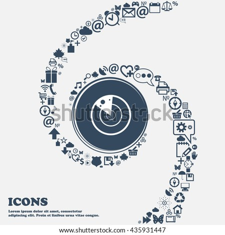 radar icon sign in the center. Around the many beautiful symbols twisted in a spiral. You can use each separately for your design. Vector illustration - stock vector