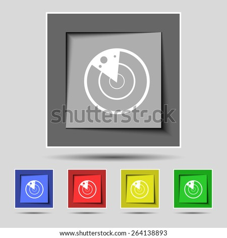 radar icon sign on the original five colored buttons. Vector illustration - stock vector