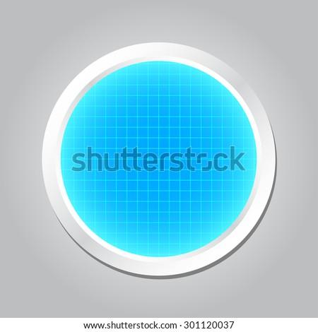 Radar screen or Radar monitor, vector illustration - stock vector