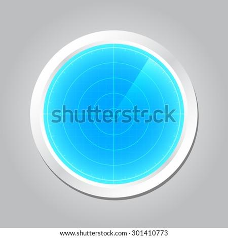 Radar screen or Radar monitor with scanning, vector illustration - stock vector