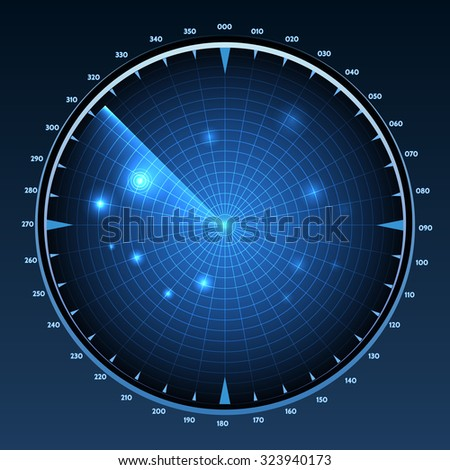 Radar screen vector. Technology military equipment, monitor system, scanner navigation and detection, vector illustration - stock vector