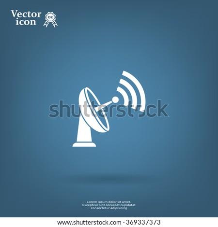Radar Vector icon satellite dish tv technology. - stock vector