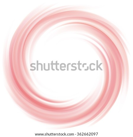 Radial curvy fond with space for text in glowing white center. Whirl red eddy syrup surface. Appetizing mix jam of juicy fruits rose color: redcurrant, dragon or pitaya, cowberry, watermelon - stock vector