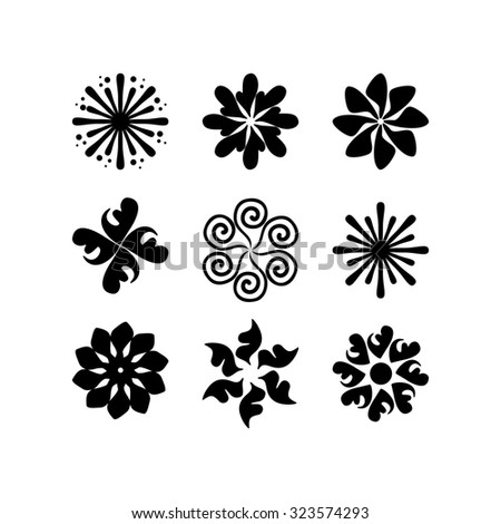 radial vector pattern floral monochrome 2 - stock vector