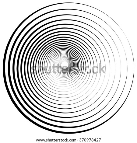 Radiating, concentric circles abstract monochrome vector graphic - stock vector