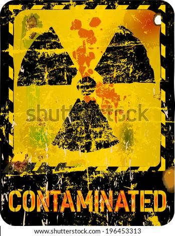 Radiation o. nuclear contamination warning, vector illustration - stock vector