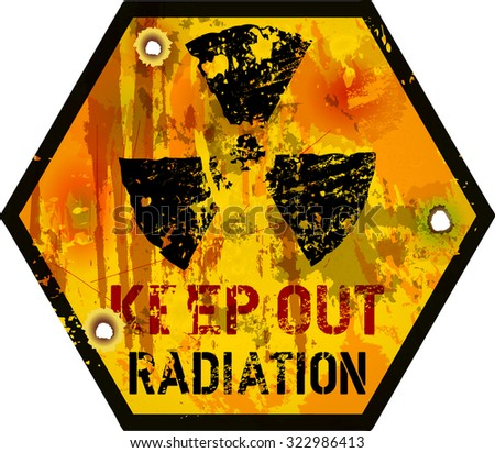 Radiation warning, grungy vector illustration,fictional artwork - stock vector