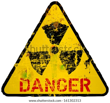 radiation warning sign, grungy style - stock vector