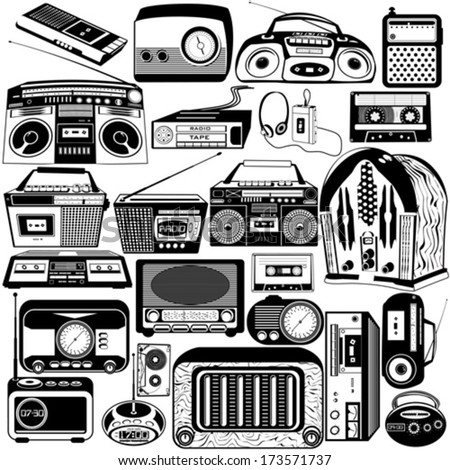 radio and cassette black icons - stock vector