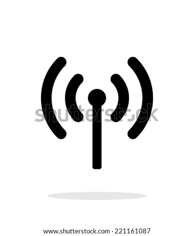 Radio antenna sending signal icon on white background. Wireless technology. Vector illustration. - stock vector