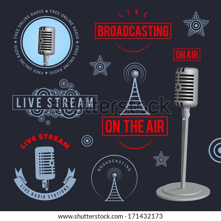 Radio broadcasting design elements. EPS10. - stock vector