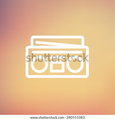 Radio cassette player icon thin line for web and mobile, modern minimalistic flat design. Vector white icon on gradient mesh background. - stock vector