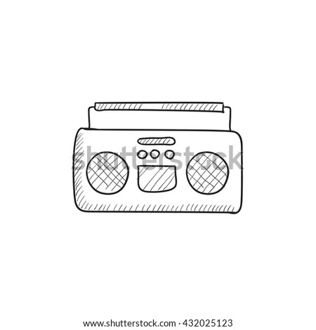 Radio cassette player vector sketch icon isolated on background. Hand drawn Radio cassette player icon. Radio cassette player sketch icon for infographic, website or app. - stock vector