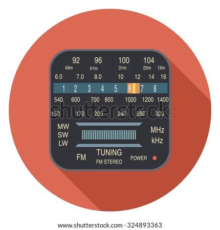 radio flat icon in circle - stock vector