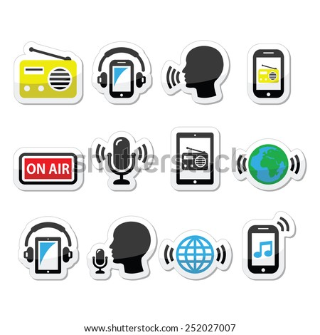 Radio, podcast app on smartphone and tablet icons set - stock vector