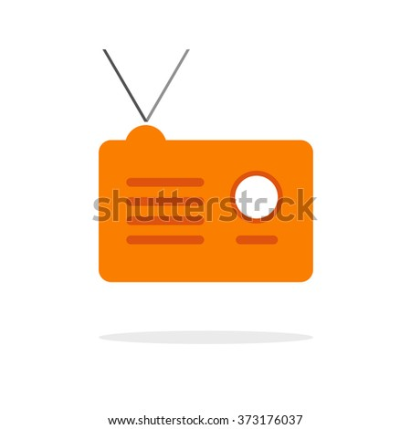 Radio receiver vector icon, orange radio station simple flat illustration with shadow and antenna, broadcast logo idea, modern design isolated on white - stock vector