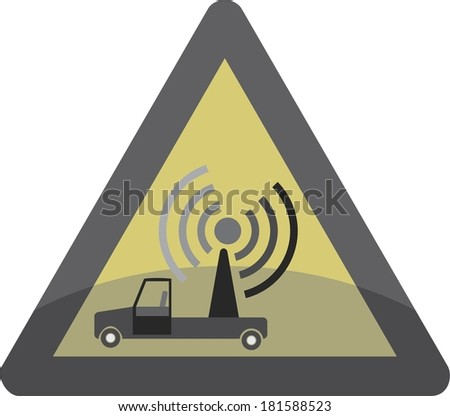 Radio Road Sign Triangle  - stock vector