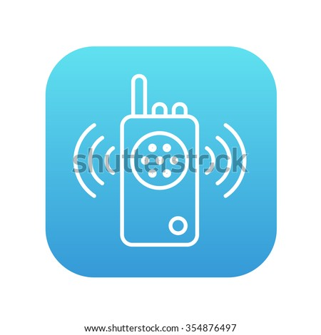 Radio set line icon for web, mobile and infographics. Vector white icon on the blue gradient square with rounded corners isolated on white background. - stock vector