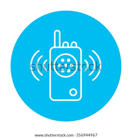 Radio set line icon for web, mobile and infographics. Vector white icon on the light blue circle isolated on white background. - stock vector