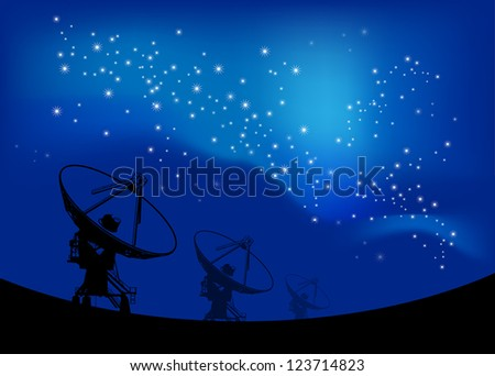Radio telescope on the Space stars background - stock vector