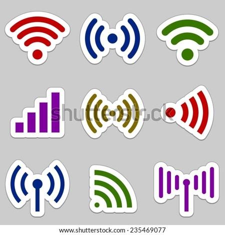 Radio waves icons - stock vector