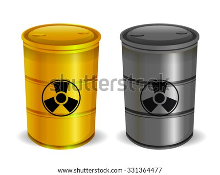 Radioactive Barrels Isolated on White - stock vector