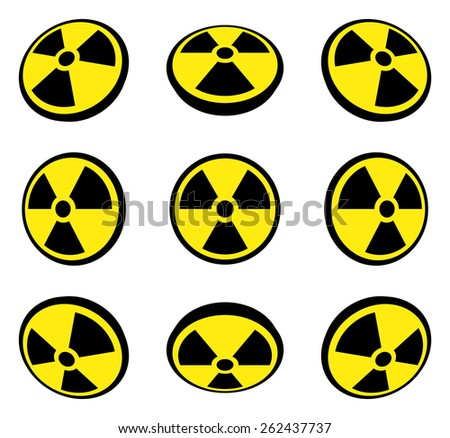 Radioactive symbol in different perspective views. Vector illustration. - stock vector