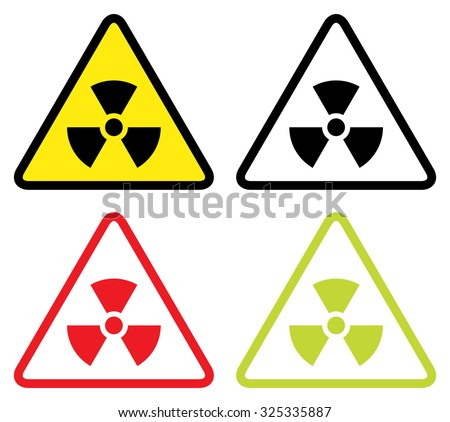 Radioactive symbol in flat design. - stock vector