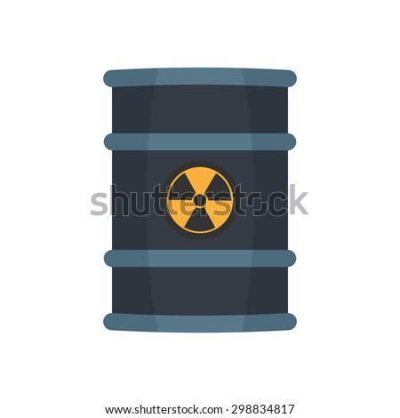 Radioactive waste in barrel, flat style  vector illustration,eps 10. - stock vector