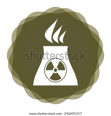 Radioactivity icon with nuclear power station, industrial concept with abstract background - stock vector