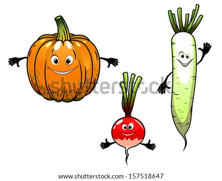 Radish, turnip and pumpkin vegetables with smiles in cartoon mascot style for bio food or idea of logo. Jpeg version also available in gallery - stock vector