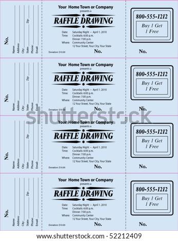 Raffle ticket, 3-part vector template - stock vector