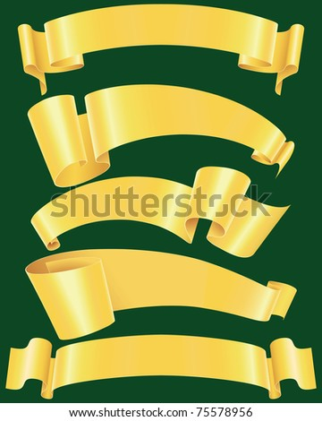 Ragged gold banners set(vector, CMYK) - stock vector