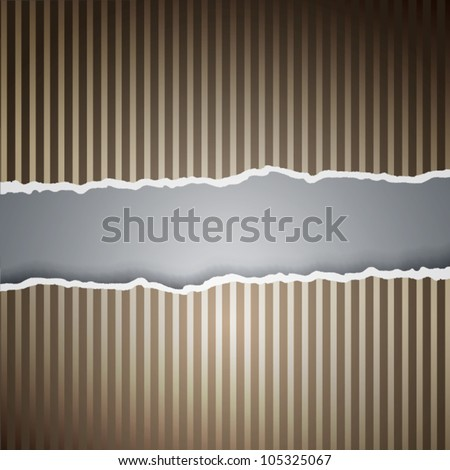 Ragged paper with a pattern of lines. Eps10 vector. - stock vector