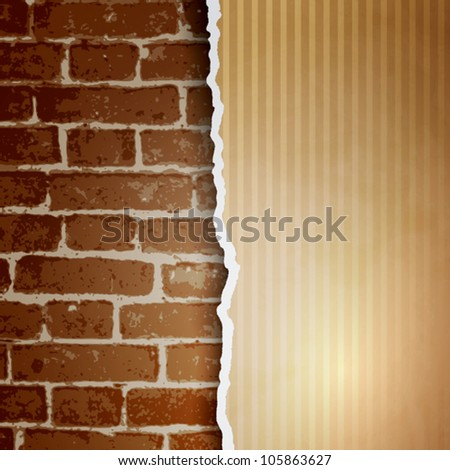 Ragged paper with a pattern of lines on brick wall background. Eps10 vector. - stock vector