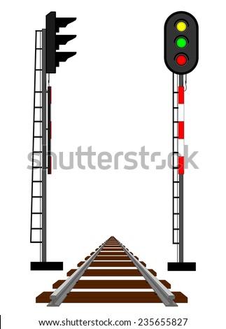Rail semaphores and rail - stock vector
