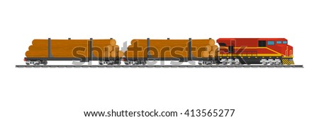 Rail trains cars of wood at the railway station ready for transport. Illustration on white background. - stock vector