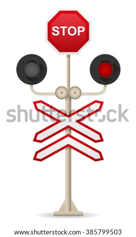 railroad crossing vector illustration isolated on white background - stock vector