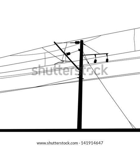 Railroad overhead lines. Contact wire. Vector illustration. - stock vector
