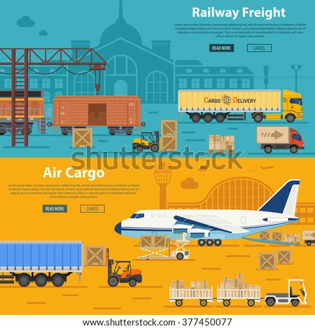 Railway Freight and Air Cargo Banners in Flat style icons such as Truck, Plane, Train. Vector for Brochure, Web Site and Printing Advertising on theme delivery of goods. - stock vector
