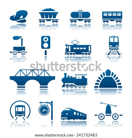 Railway icon set - stock vector