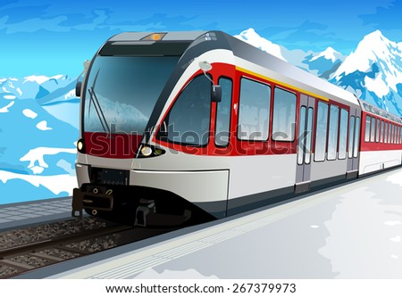 Railway station at hight Alps mountains - stock vector
