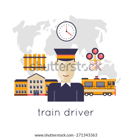 Railway station concept. Driver of the train station on the background of the train and maps. Train, watch, backpack, map, train station, rails. Flat icons vector illustration. - stock vector