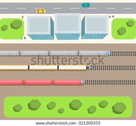 Railway station top view with trains set, buildings, road, cars, people, vector illustration - stock vector