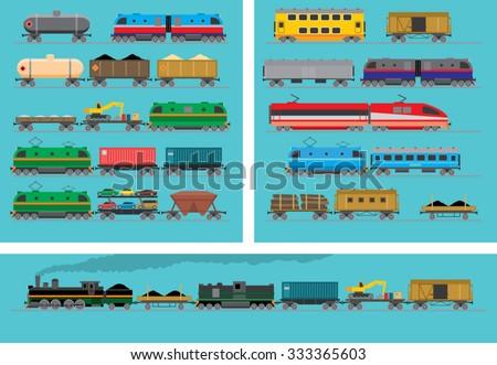 railway transport wagons and locomotives - stock vector