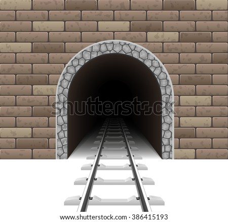 railway tunnel vector illustration isolated on white background - stock vector